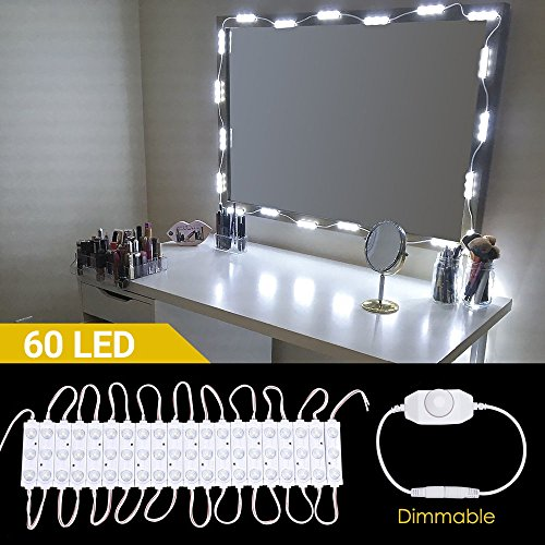 Functional 6 Light Bathroom Fixture (LED Vanity Mirror Lights, Hollywood 60LED 19.7ft/6M Makeup Mirror Light Kits, Lighting Fixture Strip Sets for Bathroom Dressing Table Mirrors with Rotate Dimmer and Power Supply(Mirror not Include))