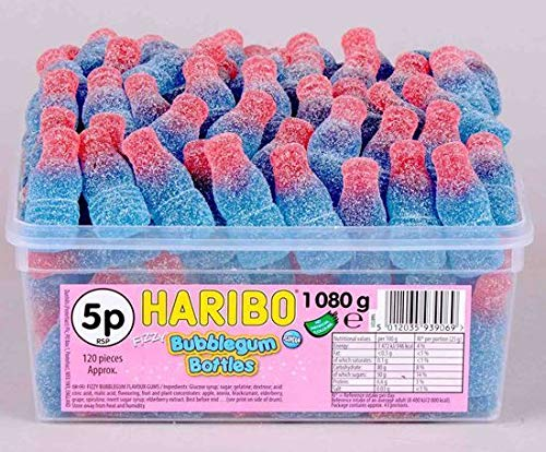 Haribo Full Tub Retro Sweets Candy Party Box Wedding Favours Bubble Gum Bottles