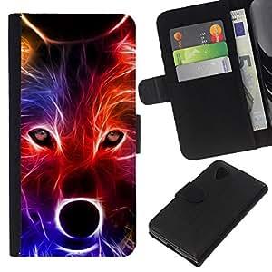 KLONGSHOP // Tirón de la caja Cartera de cuero con ranuras para tarjetas - Lobo neón Colores Retrato Hocico Hocico - LG Nexus 5 D820 D821 //