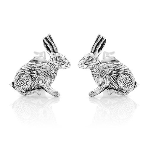 925 Sterling Silver Tiny Little Bunny Rabbit 8 mm Post Stud Earrings