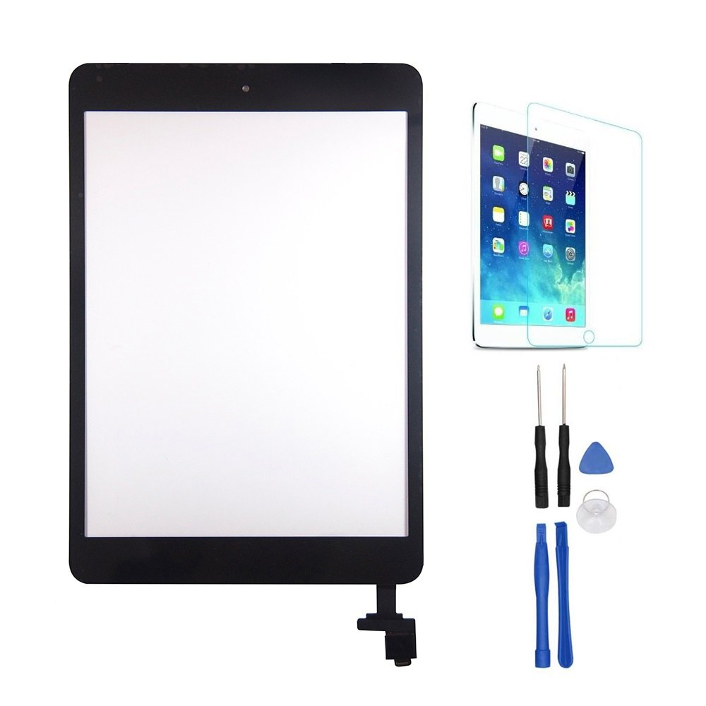Wonsain For iPad Mini 1/2 Touch Screen Digitizer Complete Assembly with IC Chip & Home Button & Tempered Glass (Black)