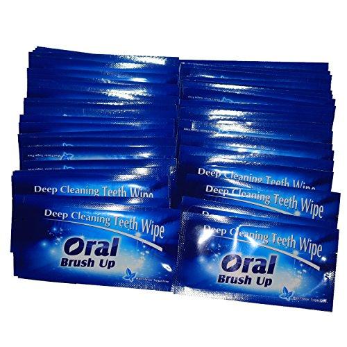 Mint Flavor Finger Teeth Wipes Disposable Brush Ups,Pack of 100,Dark Blue