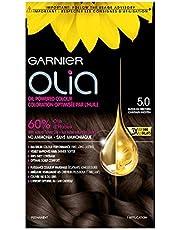Garnier Hair Color Olia with flower Oils in 5.0 Medium Brown, 3x Shine, Ammonia-free