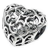 Sterling Silver Ethnic Flower Love Heart Filigree Bead For European Style Charm Bracelets