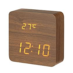 DIGOO Wooden LED Digital Alarm Clock with 3 Groups Alarm Setting, Temperature Time & Date Display, 3 Adjustable Brightness, Voice Control, 2 Modes Display (Brown)