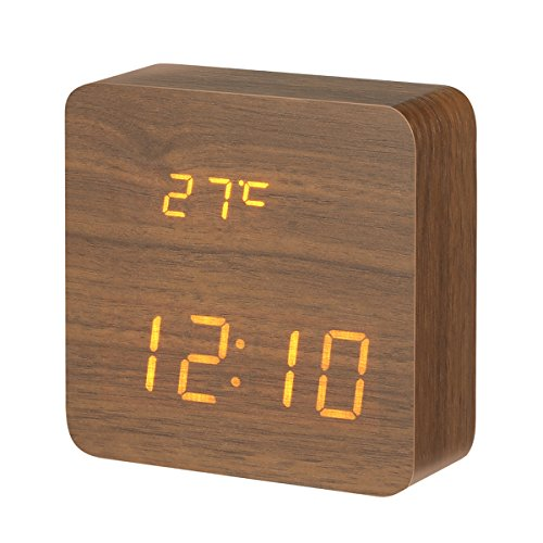51dqhMmqtKL - DIGOO Wooden LED Digital Alarm Clock with 3 Groups Alarm Setting, Temperature Time & Date Display, 3 Adjustable Brightness, Voice Control, 2 Modes Display (Brown)