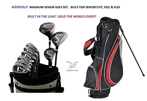 AGXGOLF Senior Men's Magnum Edition Complete Golf Club Set w/Stand Bag, 460cc Driver, 3 Wood, Hybrid, 5-9 Irons, Wedge: Right Hand Cadet, Regular or Tall Lengths: Built in the USA! - Set Iron Pitching Wedge 3