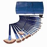 24 Piece Makeup Brushes Set | Horse Hair Professional Kabuki Makeup Brush Set Cosmetics Foundation Makeup Brushes Set Kits with Blue Case Bag