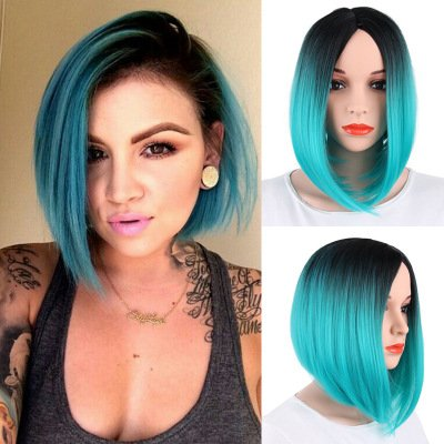 FCHW WIG Ombre Wig For Women Black Blue Glamour Madam BOB Wig Short Straight Female Wig Human Hot Sale No Bangs Soft Touch Female Wig 13in Blended Full Cap Color Wig Popular Natural Loose Replacement -