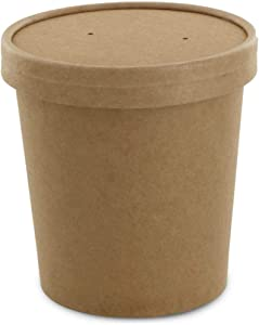 Eco Friendly Kraft Soup Bowls | Kraft Disposable Food Cups with Lids | Brown Containers - Soup Cup Great for Restaurants, Take-Outs, Or Disposable Soup Bowls To Go Lunch (25/Pack) (Kraft, 16 oz)