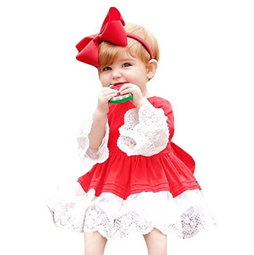 baby girls christmas clothes set toddler kids long sleeve lace princess dress