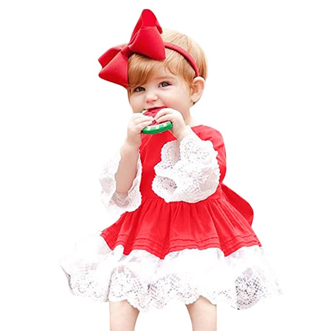 Homebaby 2pcs Neonata Bambino Ragazze Costume Cosplay di Natale Pizzo Abito  + Fascia per Capelli Bambini f9ab2ac2723