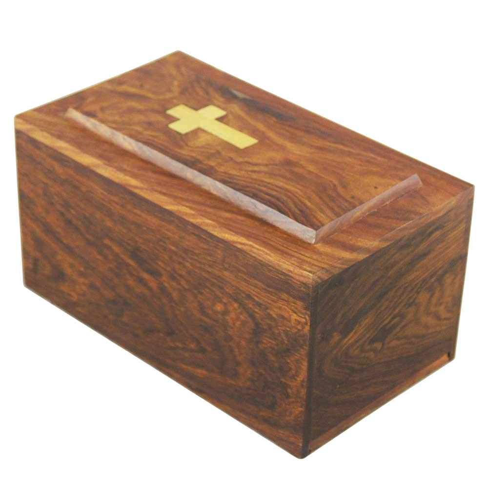 Large Wooden Cremation Urn for Human Ashes Adult – Women Men – Wood Hand Engraved Golden Cross -Display Burial At Home or in Niche at Columbarium Religion, Funeral Urn for Ashes Mother Father