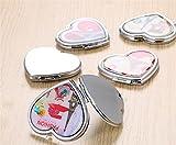 pinjewelr Women's Accessories Adorable Double Sided Metal Heart Shape Cartoon Design Compact Pocket Size Mirrors Random Pattern