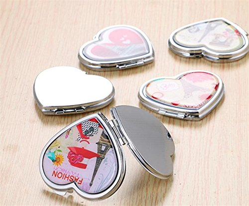 pinjewelr Women's Accessories Adorable Double Sided Metal Heart Shape Cartoon Design Compact Pocket Size Mirrors Random Pattern by Pinjewelry