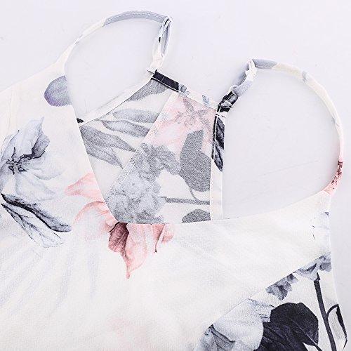 Imprim col en sans V Floral Blanc Robe L Asymtrique Manches Luxspire X4wIZxAq0X
