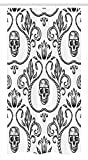 shower stall design ideas Ambesonne Gothic Stall Shower Curtain, Ornament with Skull Goth Skeleton Floral Design in Baroque Style Illustration, Fabric Bathroom Decor Set with Hooks, 36 W x 72 L inches, Black and White