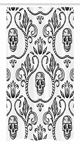 Ambesonne Gothic Stall Shower Curtain, Ornament with Skull Goth Skeleton Floral Design in Baroque Style Illustration, Fabric Bathroom Decor Set with Hooks, 36 W x 72 L inches, Black and White