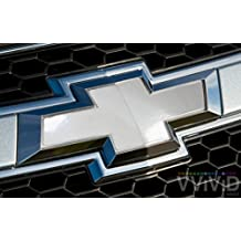 "VVIVID White Gloss Auto Emblem Vinyl Wrap Overlay Cut-Your-Own Decal for Chevy Bowtie Grill, Rear Logo DIY Easy to Install 11.80"" x 4"" Sheets (x2)"