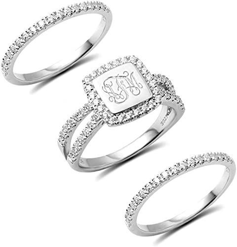 Initial Ring Sterling Silver Ring Silver Ring Monogram Ring Monogrammed Gifts Custom Ring Stackable Ring Anniversary Initial Jewelry