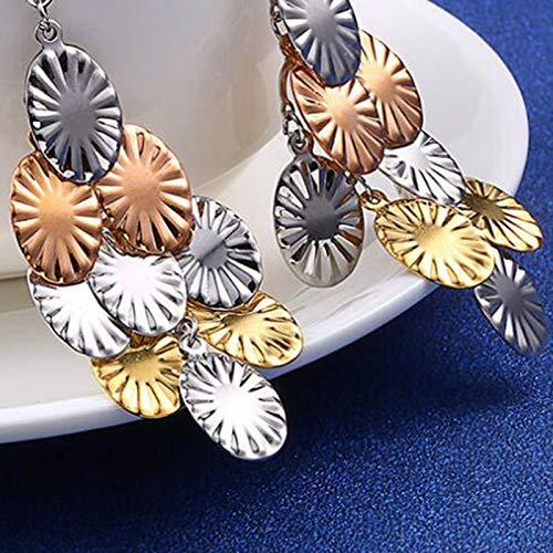 Stainless Steel Sunflower Long Layered Tassel Clip on Earrings Handmade Dangle for Girls