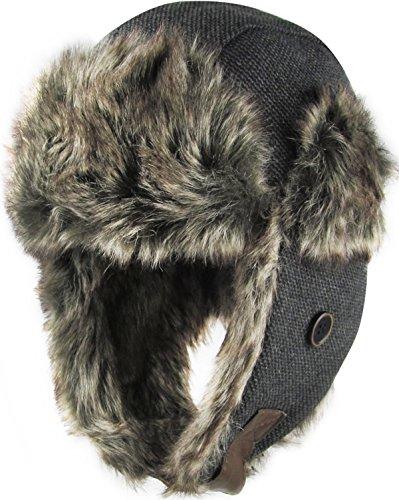 KBW-624 BLK Premium Aviator Trooper Trapper Hat Winter Cap