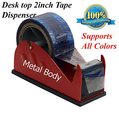 g24 Desk Table top 2 inch Wide Packing Masking Tape Dispenser Heavy Duty Warehouse Shipping Supplies (Random Color)