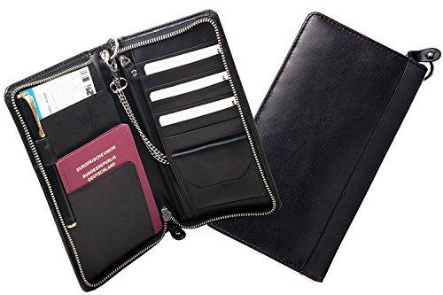 chimica di Senza design Nero Case da Portafoglio Portafoglio viaggio Pelle Organizer tedesco Friedlich Eco Pelle Portafoglio Card vacchetta Travel AwYqEt