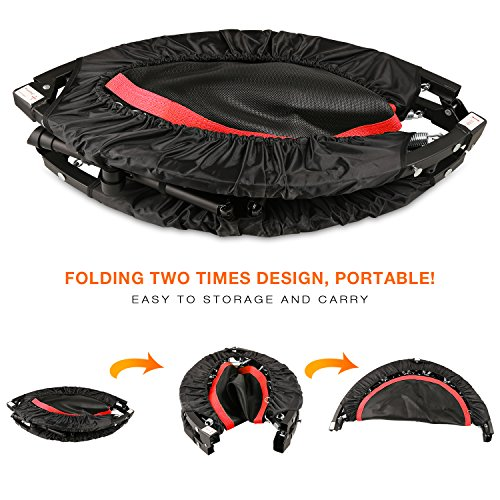 """40"""" Foldable Fitness Trampoline and Rebounder with Stability Bar for Home Gym Cardio Training (US STOCK)"""