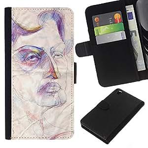 Planetar® Modelo colorido cuero carpeta tirón caso cubierta piel Holster Funda protección Para HTC DESIRE 816 ( Sketch Art Face Rustic Autoportrait )