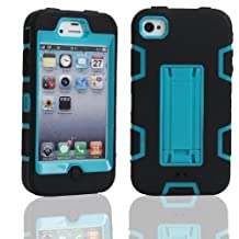 iPhone 4 Case, iPhone 4S Case, Lantier Powerful Protection [3 In1 Color Mix Design],Hybrid Hard Soft Durable Bumper Case Armor Case Back Cover Case with Kickstand for Apple iPhone 4 4S Black-Blue
