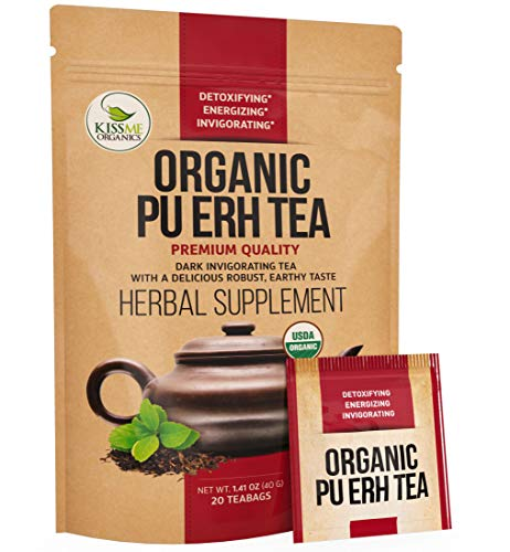 Organic Puerh Tea - Premium Quality Fermented Pu erh Tea - Energizing, Detoxifying & Delicious - Aged Black Yunnan Tea - 20 Teabags (2 grams per serving)