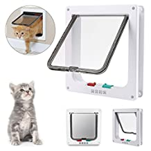 """4-WAY Locking Cat door, Pet Lockable Flap Door for Pet Cats and Small Dogs with Telescopic Frame Installing Easily,(Large:9.25"""" x 2.26"""" x 9.84"""", White)"""