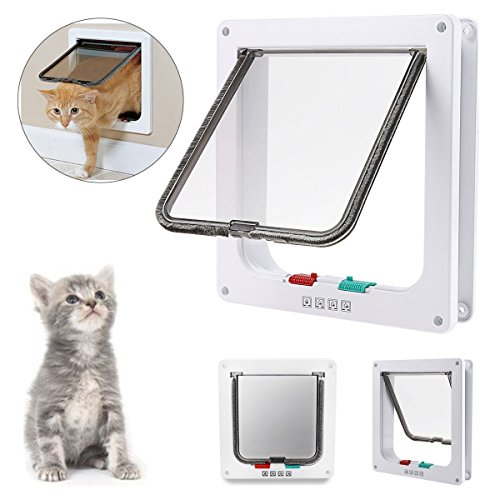 Lockable Cat Flap Door - REENUO 4-WAY Locking Cat door, Pet Lockable Flap Door for Pet Cats and Small Dogs with Telescopic Frame Installing Easily,(Large:9.25