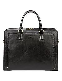 Banuce Women's Full Grain Leather Briefcase 14 inch Laptop Bag Business Tote Satchel Bag Shoulder Messenger Bag Attache Case Black