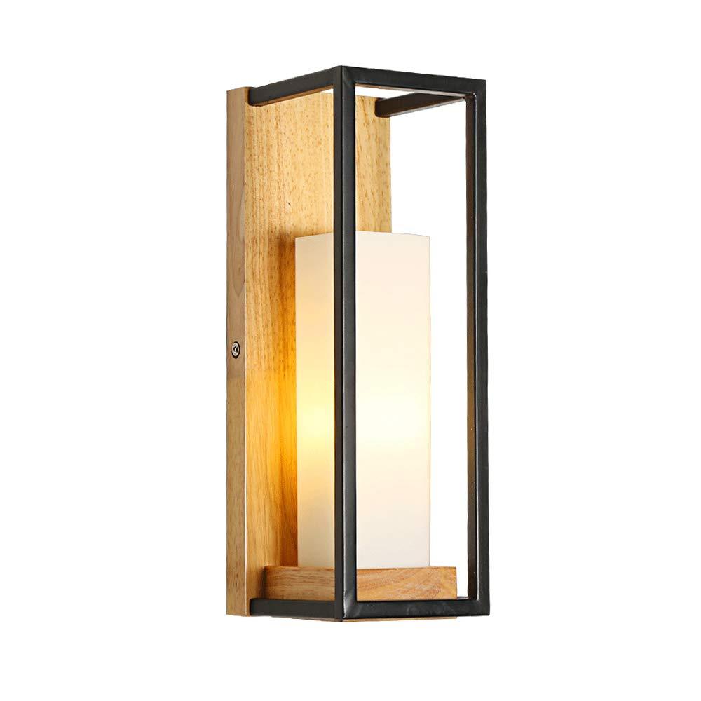 KMYX Warm Glasschirm Wandleuchte Moderne Holz Kerzenständer Wand Laterne Gang Korridor Wandleuchten Schlafzimmer Studie Wandleuchte E27 yuxinkemao