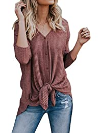 Womens Waffle Knit Tunic Blouse Tie Knot Henley Tops Bat Wing Plain Shirts
