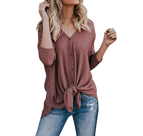 Bbalizko Womens Short Sleeve V Neck Bottom Casual Lightweight Lace up Cardigan Sweaters (Large, X Red)