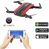 Fistone RC Drone WIFI FPV Quadcopter 2.4G 6-Axis Gyro Mini Aircraft Folding Airscrew Portable Helicopters Headless Nano Remote Control UFO Exploration HD Camera Electronic Hobby Toys(Red)