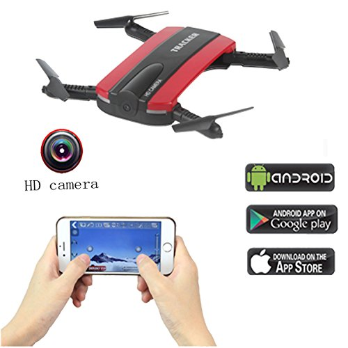 Fistone RC Drone WIFI FPV Quadcopter 2.4G 6-Axis Gyro Mini Aircraft Folding Airscrew Portable Helicopters Headless Nano Remote Control UFO Exploration HD Camera Electronic Hobby Toys(Red