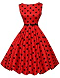 GRACE KARIN BoatNeck Sleeveless Vintage Tea Dress with Belt Size M, Floral-7(red)