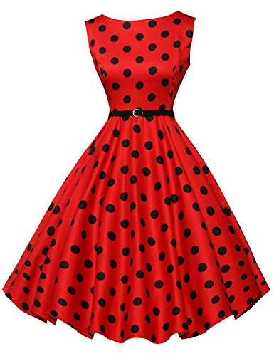 (GRACE KARIN BoatNeck Sleeveless Vintage Tea Dress with Belt Size M, Floral-7(red))
