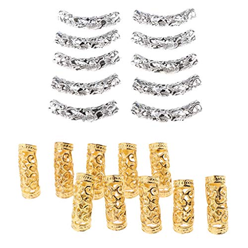 Fityle 20Pcs Silver Gold Dreadlock Beads Twisted Braid Jewelry Tubes Beard Hair Pendants Cuffs