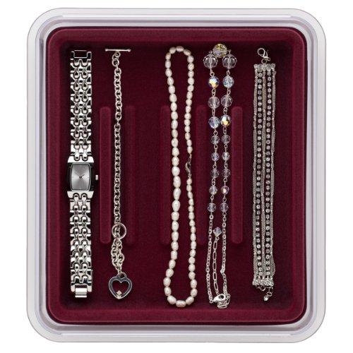 Neatnix Jewelry Stax Bracelet Organizer Tray, Burgundy
