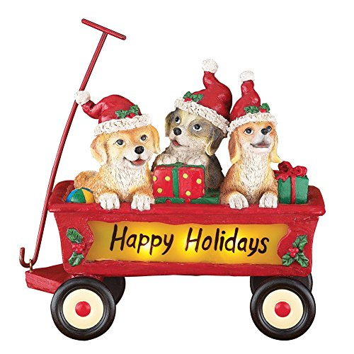 Dog Holiday Sign (Lighted Happy Holiday Puppies Wagon Figurine)