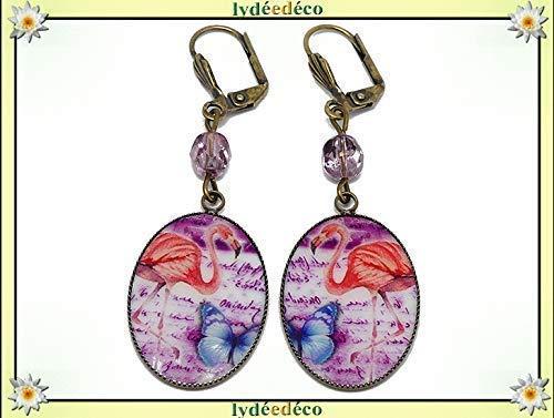 Pendientes resina Flamencos rosas azul mariposa latón cuentas de bronce regalos personalizados Navidad ceremonia boda aniversario invitados señora fiesta de la madre parejas