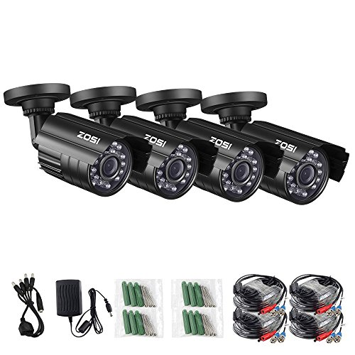 Cheap ZOSI 4 Pack HD-TVI 1280TVL 1.0MP Security Camera 720P 3.6mm Lens 24 IR LEDs Waterproof IP67 Infrared Night Vision HD Bullet Camera For 720P/1080N/1080P HD-TVI DVR systems (Certified Refurbished)