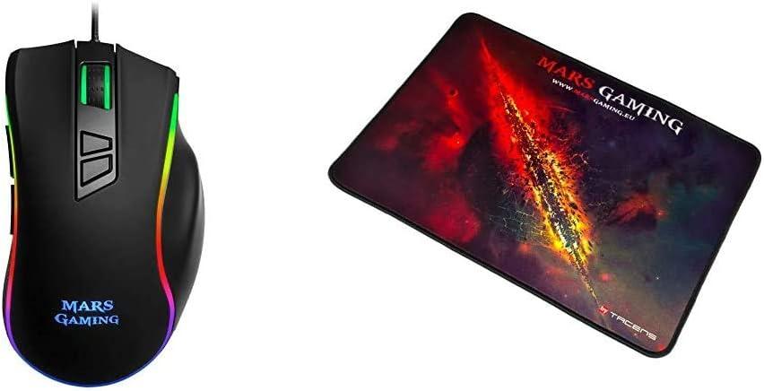 Mars Gaming MM318 - Ratón PC, 24000DPI, óptico, botón Snipe, RGB, Grip magnético + MMP1 Alfombrilla Gaming para PC (Máxima Precisión con Cualquier Ratón, Base de Caucho Natural, Máxima Comodidad