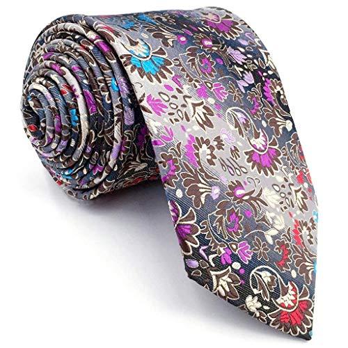 (Shlax & Wing Extra Long Size Necktie Multicolor Floral Men's Tie Silk)