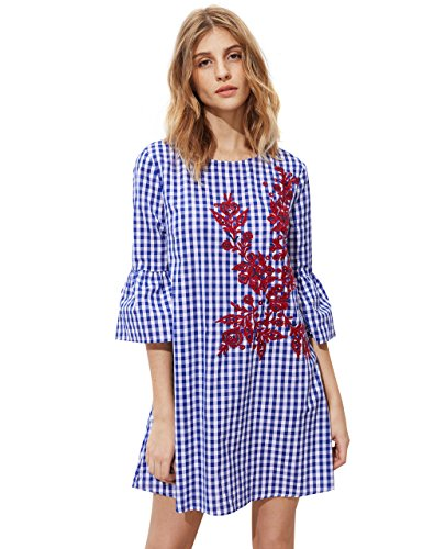 Floerns Women's Bell Sleeve Embroidered Tunic Dress Blue Plaid L
